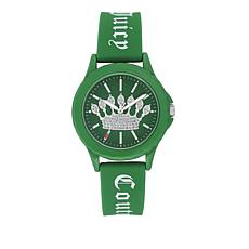 Juicy Couture Women's Green Logo Strap Sparkle Crown Watch