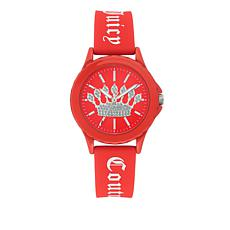 Juicy Couture Women's Red Logo Strap Sparkle Crown Watch