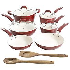 Kenmore Arlington Aluminum Ceramic-Coated Cookware Set Metallic Red