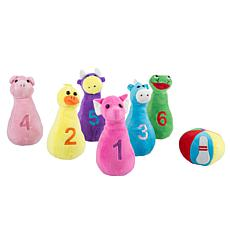 Kids Bowling Set with Six Numbered Plush Animal Pins and Ball by He...