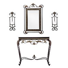 Kimberly Console/Mirror/Sconce Pair - 4-Piece Set