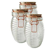 Kinetic 3-piece Beehive Glass Canning Jar Set