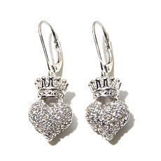 King Baby Jewelry 1.88ctw CZ 3D Crown Heart Earrings