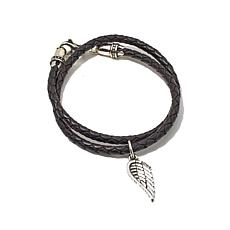"King Baby Jewelry Wing Charm 15""  Wrap Leather Bracelet"