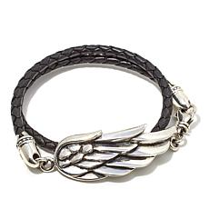 "King Baby Jewelry Wing Double Wrap 15"" Leather Bracelet"
