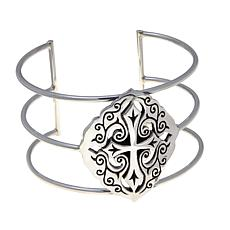 King Baby Sterling Silver Cross Cuff Bracelet