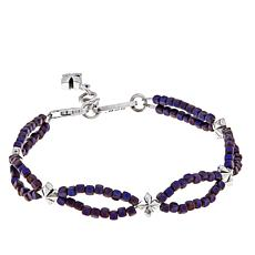 King Baby Sterling Silver Hematite Bead Cross Bracelet