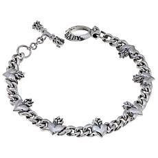 King Baby Sterling Silver Men's Heart Toggle Bracelet