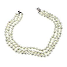 "KJL by Kenneth Jay Lane ""Rose Garden"" Simulated Pearl 3-Row Necklace"