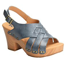 Korks Brango Wooden Block Heel Leather Sandal