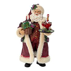 Kurt Adler 11.5-Inch Fabriche Santa with Wine Basket