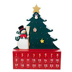 Kurt Adler Wooden Snowman with Tree Advent Calendar