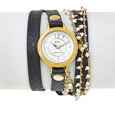 "La Mer ""Nepali"" White Seed Bead Black Leather Wrap Watch"