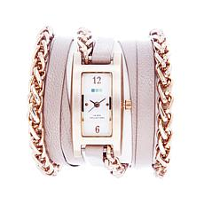 La Mer Palermo Wheat Chain Nude Leather Wrap Watch