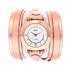 La Mer Rosetone Metallic Leather Wrap-Design Watch