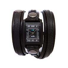 La Mer Stealth Black Dial Leather Strap Wrap Watch
