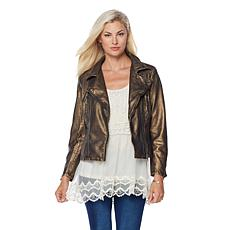 LaBellum by Hillary Scott Faux Leather Moto Jacket