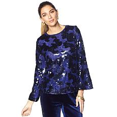 LaBellum by Hillary Scott Sequin Bell-Sleeve Top