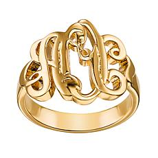 Ladies Fancy Script Monogram Ring