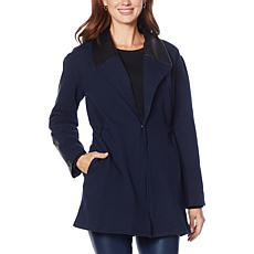 Laila Ali Fleece Jacket with Faux Leather Trim