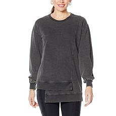 Laila Ali French Terry Long-Sleeve Step Hem Pullover