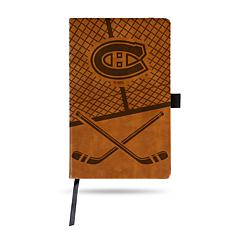 Laser-Engraved Brown Notepad with Elastic Band - Canadiens