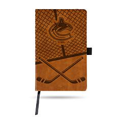 Laser-Engraved Brown Notepad with Elastic Band - Canucks