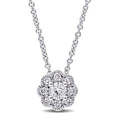 Laura Ashley 0.23ctw Diamond Flower-Design 10K Necklace