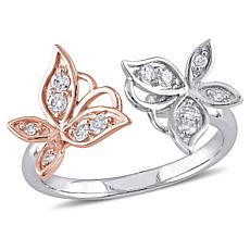 Laura Ashley 0.24ctw Diamond 2-Tone Butterfly Ring