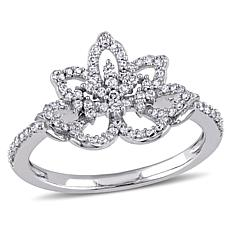 "Laura Ashley 0.356ctw Diamond ""Flower"" 10K Ring"