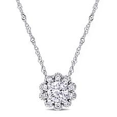 Laura Ashley 0.5ctw Diamond Flower-Design 10K Necklace