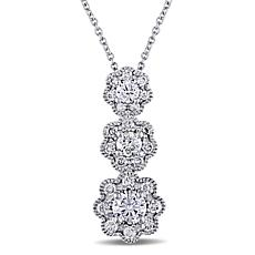 Laura Ashley 0.97ctw Diamond 3-Flower Drop 10K Necklace