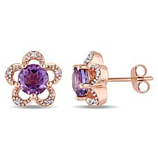 Laura Ashley 1.35ctw Amethyst and Diamond 10K Earrings