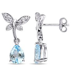 Laura Ashley Blue Topaz & White Sapphire Drop Earrings