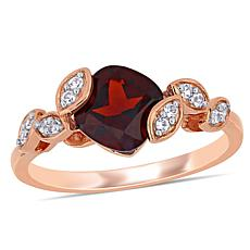 Laura Ashley Garnet and Created White Sapphire Crossover Ring
