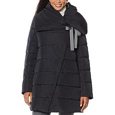 Laurier Quilted Oversize Collar Coat with Bow Detail