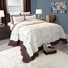 Lavish Home 2-piece Athena Embroidered Quilt Set - Twin