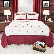 Lavish Home 2-piece Chloe Embroidered Quilt Set - Twin