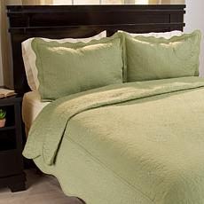 Lavish Home 2-piece Vera Embroidered Quilt Set - Twin