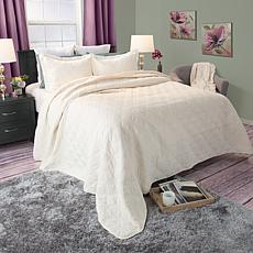 Lavish Home 3-piece Andrea Embroidered Quilt Set - King