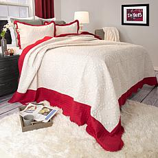Lavish Home 3-piece Lydia Embroidered Quilt Set - King