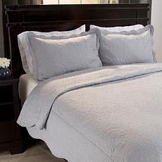 Lavish Home 3pc Vera Embroidered Quilt Set - Full/Queen