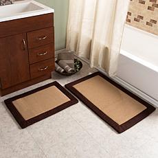 Lavish Home Faux Linen Memory Foam Bath Mat 2-piece Set