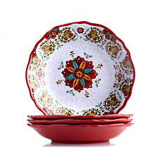 Le Cadeaux Allegra Set of 4 Melamine Pasta Bowls - Red