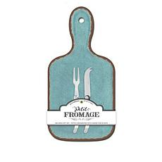 Le Cadeaux Antiqua Cheese Board and Utensil Set - Turquoise