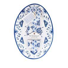 Le Cadeaux Moroccan Blue Platter, Servers and Tea Towel Set