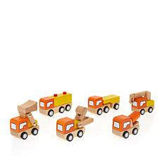 Leading Edge Wooden Construction Cars and Trucks with Gift Box