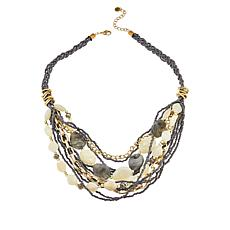 "Lemon Way 23"" Bead and Chain Multi-Layer Bib Necklace"