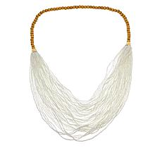 "Lemon Way 27"" Seed Bead and Wood Multi-Layer Bib Necklace"