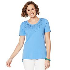 Lemon Way Beaded Short-Sleeve Tee